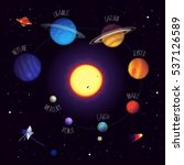 set of colorful planets with... | Shutterstock .eps vector #537126589