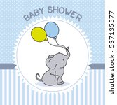 baby shower boy. elephant with... | Shutterstock .eps vector #537135577