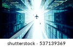 airplane flying above glass... | Shutterstock . vector #537139369
