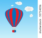 hot air balloon in red  white...   Shutterstock .eps vector #53714056
