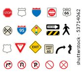 various traffic and road signs | Shutterstock .eps vector #53714062