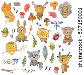 watercolor pattern with animals ... | Shutterstock . vector #537150001