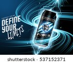 energy drink contained in black can, with current element surrounds, blue background, 3d illustration | Shutterstock vector #537152371