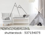white baby room with cot ... | Shutterstock . vector #537154075