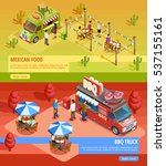 mexican food truck and bbq bus... | Shutterstock .eps vector #537155161