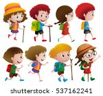 boys and girls with walking... | Shutterstock .eps vector #537162241
