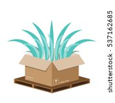 green leaf in recycle box.... | Shutterstock .eps vector #537162685