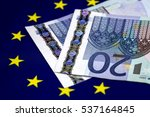 two twenty euro bills with... | Shutterstock . vector #537164845