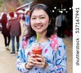 woman drinking fresh fruit... | Shutterstock . vector #537167941