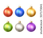 bright christmas balls... | Shutterstock .eps vector #537173041