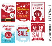 christmas sale banner set ... | Shutterstock .eps vector #537176149