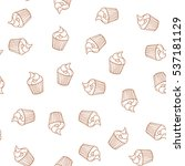 hand drawn cupcakes seamless... | Shutterstock .eps vector #537181129