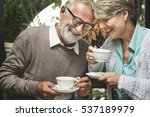 senior couple afternoon tea... | Shutterstock . vector #537189979