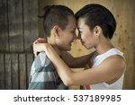 lgbt lesbian couple moments... | Shutterstock . vector #537189985