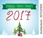 postcard happy new year  | Shutterstock .eps vector #537219505