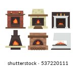 vector set of home fireplaces... | Shutterstock .eps vector #537220111