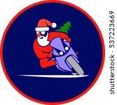 santa on a motorcycle | Shutterstock .eps vector #537223669