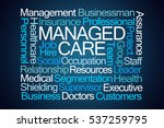 managed care word cloud on blue ... | Shutterstock . vector #537259795