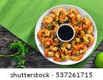 butter garlic fried shrimps... | Shutterstock . vector #537261715