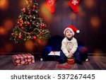 christmas miracle  magic gift... | Shutterstock . vector #537267445