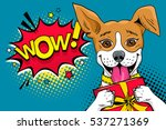 wow pop art dog. funny... | Shutterstock .eps vector #537271369