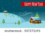 happy new year night  houses ... | Shutterstock .eps vector #537272191