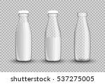 transparent glass bottle milk.... | Shutterstock .eps vector #537275005