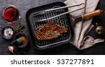 grilled steak striploin on pan... | Shutterstock . vector #537277891