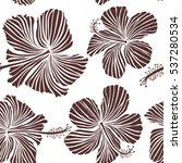 aloha typography with hibiscus... | Shutterstock .eps vector #537280534