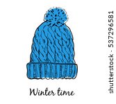 wool warm winter hat. vector... | Shutterstock .eps vector #537296581
