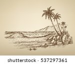 vector summer beach with palm... | Shutterstock .eps vector #537297361