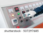 closeup of the working hand on... | Shutterstock . vector #537297685