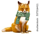 cute sleeping fox with scarf | Shutterstock . vector #537316411