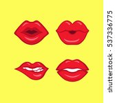 set of red lips on yellow... | Shutterstock .eps vector #537336775