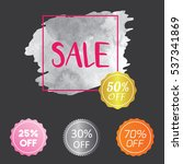set of watercolor badge tag... | Shutterstock .eps vector #537341869