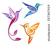 stylized birds   hummingbirds | Shutterstock .eps vector #537347419