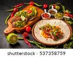 tortilla and tacos set mexican... | Shutterstock . vector #537358759