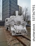 Small photo of Lodz, Poland, December 14, 2016 : old silver locomotive wrapped in aluminum foil