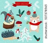 christmas animals | Shutterstock .eps vector #537378565