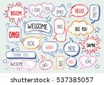 set of speech bubbles with... | Shutterstock .eps vector #537385057