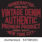 vintage denim  new york ... | Shutterstock .eps vector #537385201
