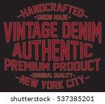 vintage denim  new york ... | Shutterstock .eps vector #537385201