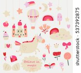 vector set of cute little... | Shutterstock .eps vector #537392875
