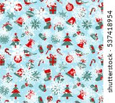 seamless pattern with christmas ... | Shutterstock .eps vector #537418954