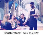 positive european afro waiter... | Shutterstock . vector #537419629