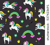 seamless pattern with unicorns  ... | Shutterstock .eps vector #537423691