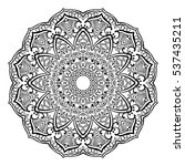 Round ornamental mandala for coloring book Isolated design element Vector illustration