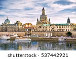 dresden panorama with bruhl...   Shutterstock . vector #537442921
