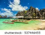 traditional banca boat in clear ... | Shutterstock . vector #537446455