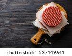 raw ground beef meat burger... | Shutterstock . vector #537449641